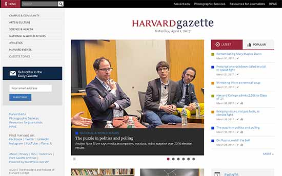 وب سایت شرکت harvard gazette
