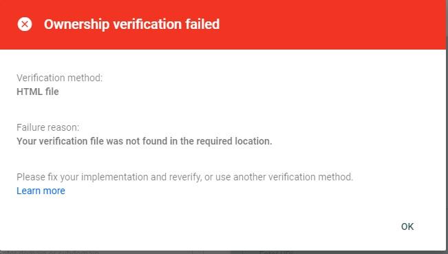 عدم موفقیت تایید مالکیت گوگل وبمسترز